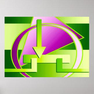 """""""Circuit Diagram"""" digital art print, lime green Poster"""