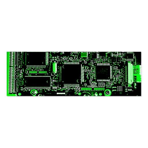 Circuit Green 2 business card template skinny