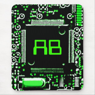 Circuit Green 2 monogram mouspad Mouse Pad