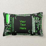 Circuit Green 2 'Your Text' throw pillow lumbar