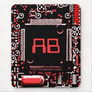 Circuit Red 2 monogram mouspad Mouse Pad