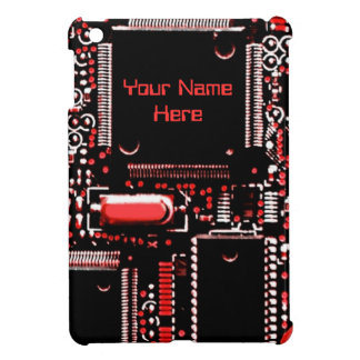 Circuit Red 2 print 'Name' mini iPad case
