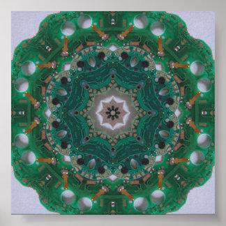 Circuitboard Digital Mandala Poster