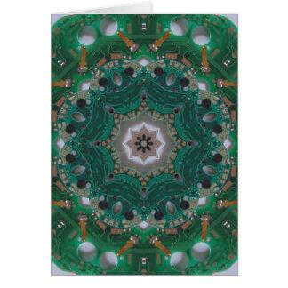 Circuitboard Mandala Card