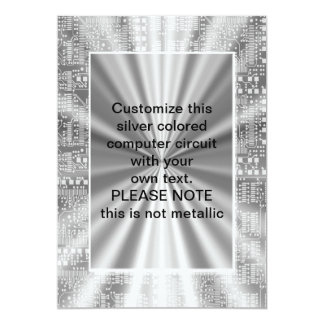 "circuito de ordenador coloreado plata invitación 5"" x 7"""