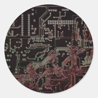 circuito electrónico etiquetas redondas