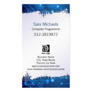 Circuitos azules de papel rasgados del informático tarjetas de visita