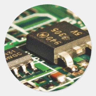 Circuitos de microprocesadores de ordenadores pegatinas redondas