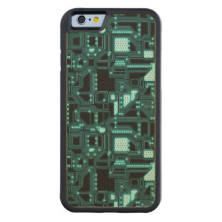 Circuitry Pattern Carved Maple iPhone 6 Bumper Case