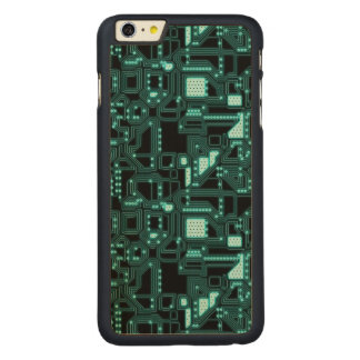 Circuitry Pattern Carved Maple iPhone 6 Plus Slim Case