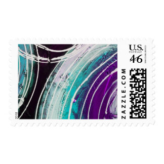 Circular Abstract Painting Postage Stamp