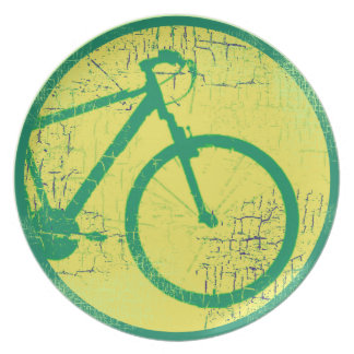 circular bicycle green dinner plate