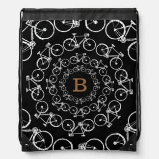 circular bicycles with B letter Drawstring Backpack