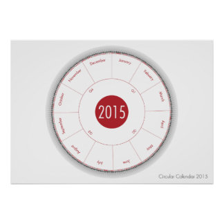 Circular Calendar 2015 poster (raspberry)