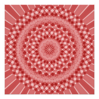 Circular Checkered Pattern - Red and White Photo Print