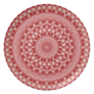 Circular Checkered Pattern - Red and White Party Plates