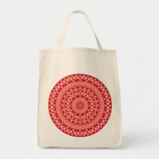 Circular Checkered Pattern - Red and White Tote Bag