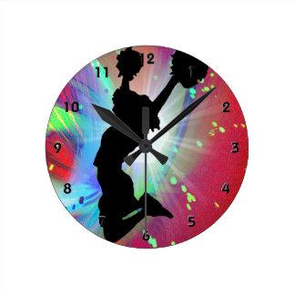 Circular Colorburst with Cheerleader Round Wall Clock