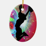 Circular Colorburst with Cheerleader Double-Sided Oval Ceramic Christmas Ornament