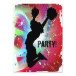 "Circular Colorburst with Cheerleader 5"" X 7"" Invitation Card"