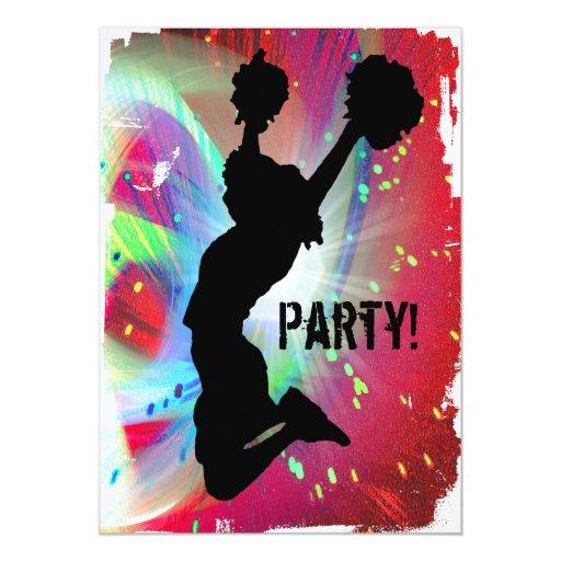 Circular Colorburst with Cheerleader 5x7 Paper Invitation Card