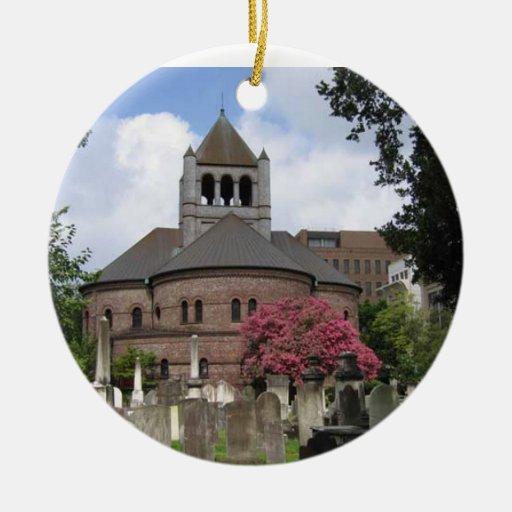 Circular Congregational Church Ceramic Ornament