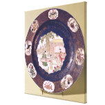 Circular dish with a musical scene gallery wrap canvas