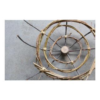 Circular Eco-Art Sculpture of Vines & Wood Closeup Photo Print