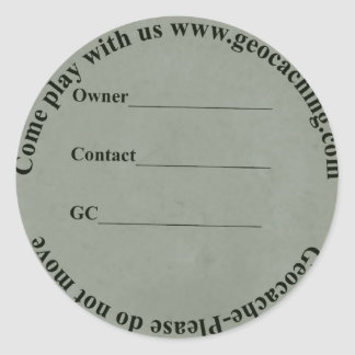 circular geocache label classic round sticker