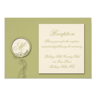 Circular Green and Creme Monogram Reception Card