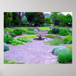Circular Herb Garden with Fountain, Dunedin, NZ Poster