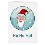Circular Ho Ho Ho! Santa in Teal Greeting Cards