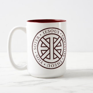 Circular Ichthys (Crimson) Two-Tone Coffee Mug