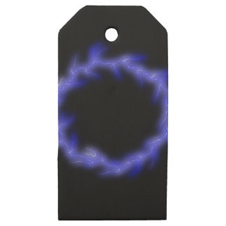 Circular Lightning Wooden Gift Tags