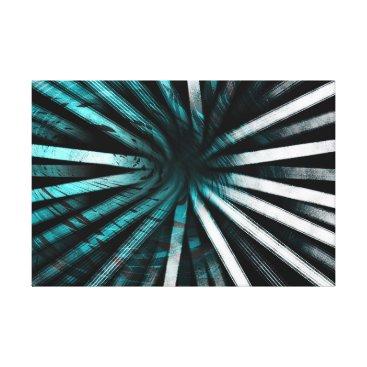 Aqua Circular Lines Aqua - Canvas Print