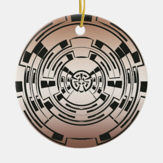 Circular Maze Double-Sided Ceramic Round Christmas Ornament