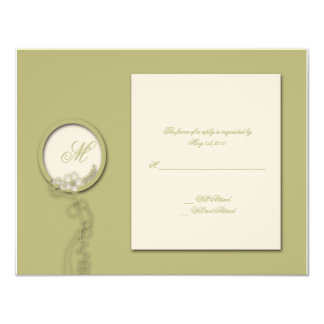 Circular Monogram Flowered Seal in Green and Creme Personalized Invitations