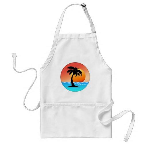 Circular Palm Tree Sunset Adult Apron