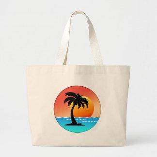 Circular Palm Tree Sunset Bags