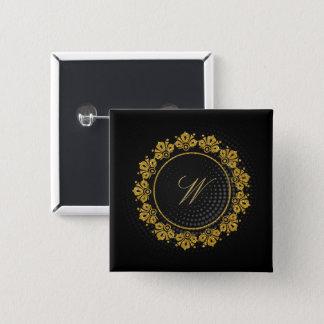 Circular Pattern Monogram on Black Circular Pinback Button