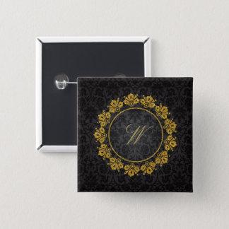 Circular Pattern Monogram on Black Damask Button