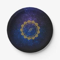 Circular Pattern Monogram on Blue Galaxy Paper Plate