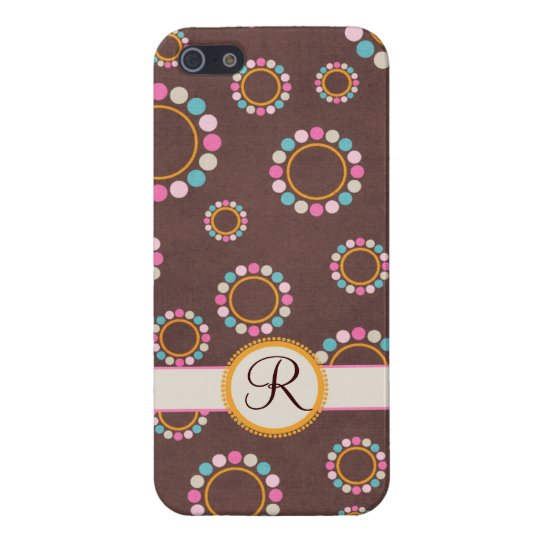 Circular pattern with polka dots Monogram Cover For iPhone SE/5/5s