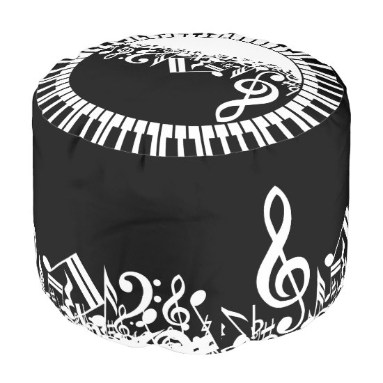 Circular Piano Keys and Jumbled Music Notes Pouf
