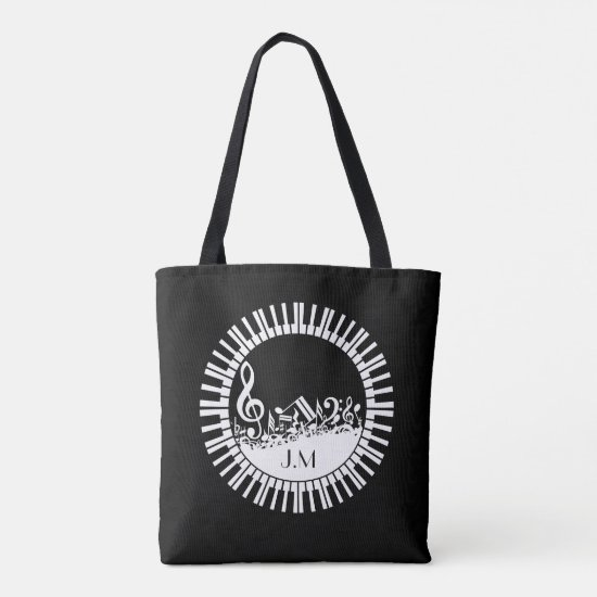 Circular Piano Keys and Jumbled Music Notes Tote Bag
