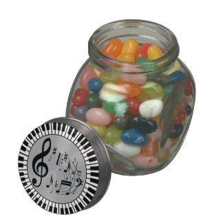 Circular Piano keys and music notes design Jelly Belly Candy Jar