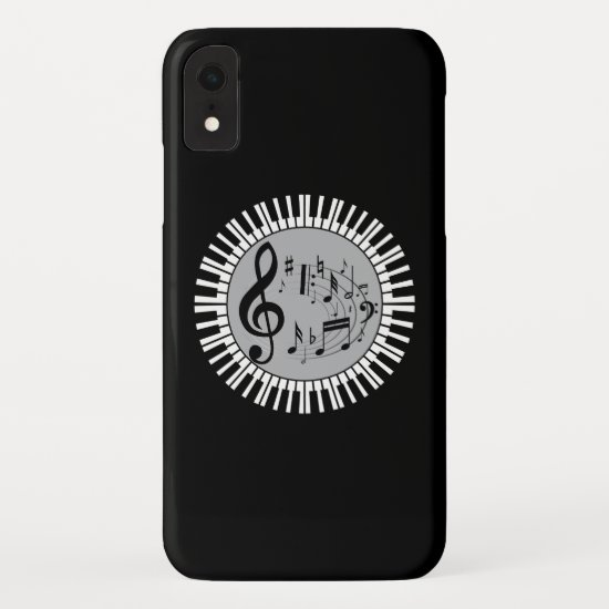 Circular Piano Keys And Music Notes iPhone XR Case