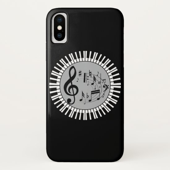 Circular Piano Keys And Music Notes iPhone XS Case