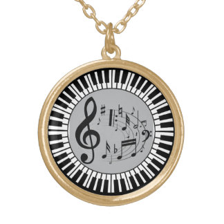 Circular Piano Keys And Music Notes Round Pendant Necklace