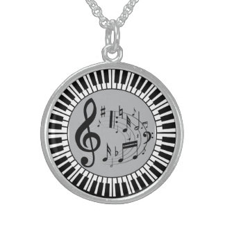 Circular Piano Keys And Music Notes Sterling Silver Necklace